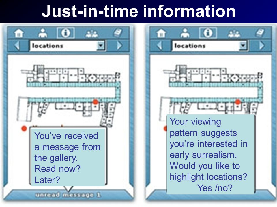 Just-in-time information You've received a message from the gallery.
