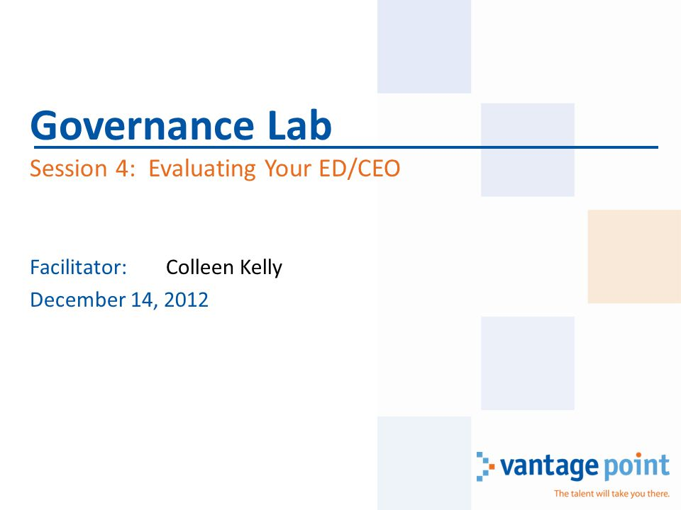 Facilitator:Colleen Kelly December 14, 2012 Governance Lab Session 4: Evaluating Your ED/CEO