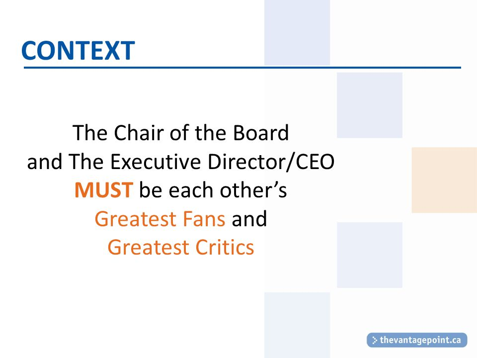 CONTEXT The Chair of the Board and The Executive Director/CEO MUST be each other's Greatest Fans and Greatest Critics