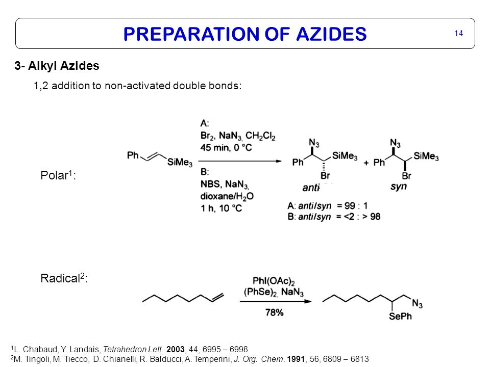 PREPARATION OF AZIDES 14 3- Alkyl Azides 1,2 addition to non-activated double bonds: Polar 1 : Radical 2 : 1 L.