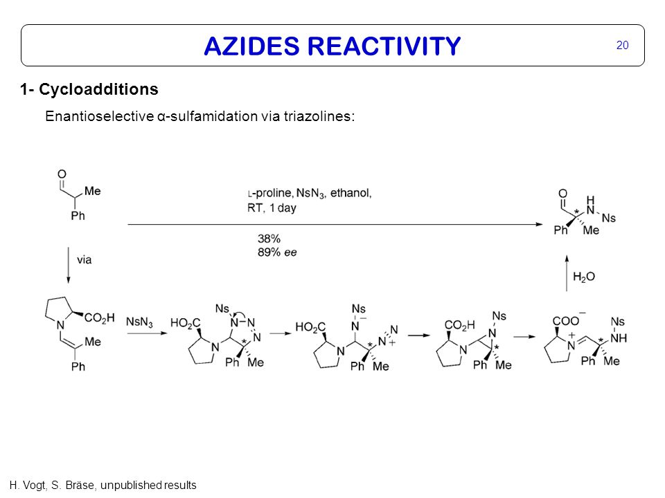 AZIDES REACTIVITY 20 1- Cycloadditions Enantioselective α-sulfamidation via triazolines: H.