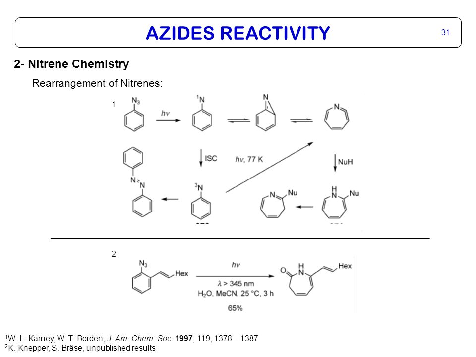 AZIDES REACTIVITY 31 2- Nitrene Chemistry Rearrangement of Nitrenes: 1 W.