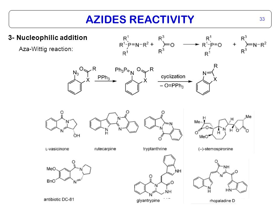 AZIDES REACTIVITY 33 3- Nucleophilic addition Aza-Wittig reaction: