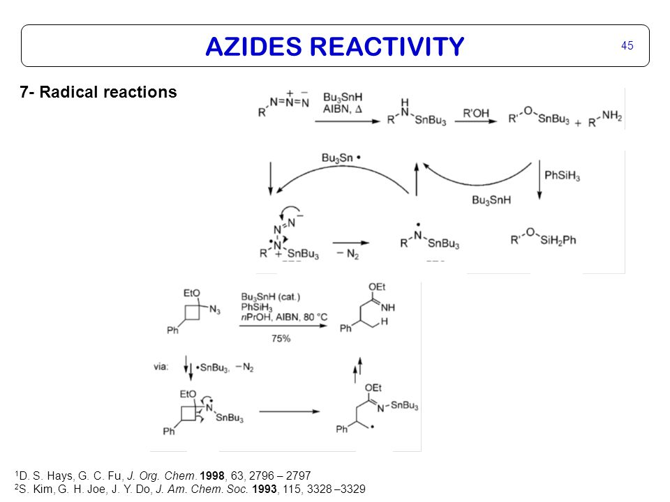 AZIDES REACTIVITY 45 7- Radical reactions 1 D. S.