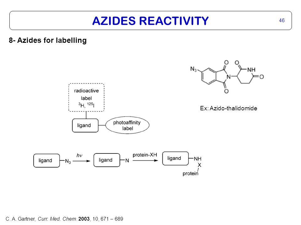 46 8- Azides for labelling AZIDES REACTIVITY Ex: Azido-thalidomide C.