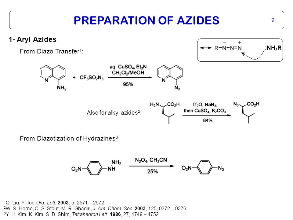 PREPARATION OF AZIDES 9 1- Aryl Azides From Diazo Transfer 1 : From Diazotization of Hydrazines 3 : Also for alkyl azides 2 : :NH 2 R 1 Q.