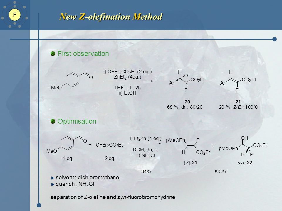 New Z-olefination Method First observation Optimisation solvent : dichloromethane quench : NH 4 Cl separation of Z-olefine and syn-fluorobromohydrine