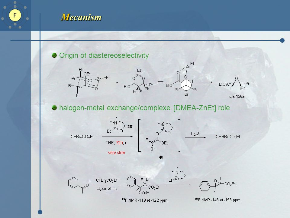 Mecanism Origin of diastereoselectivity halogen-metal exchange/complexe [DMEA-ZnEt] role