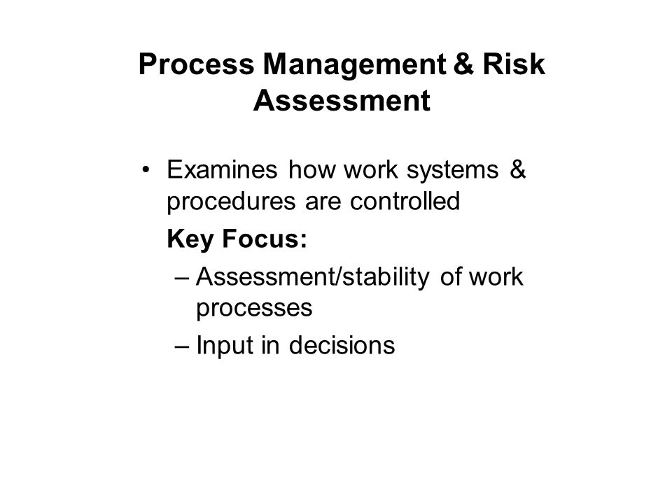 Process Management & Risk Assessment Examines how work systems & procedures are controlled Key Focus: –Assessment/stability of work processes –Input in decisions