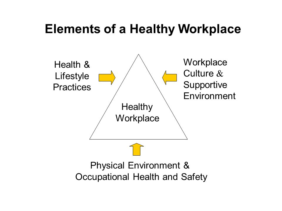 Elements of a Healthy Workplace Healthy Workplace Physical Environment & Occupational Health and Safety Health & Lifestyle Practices Workplace Culture & Supportive Environment