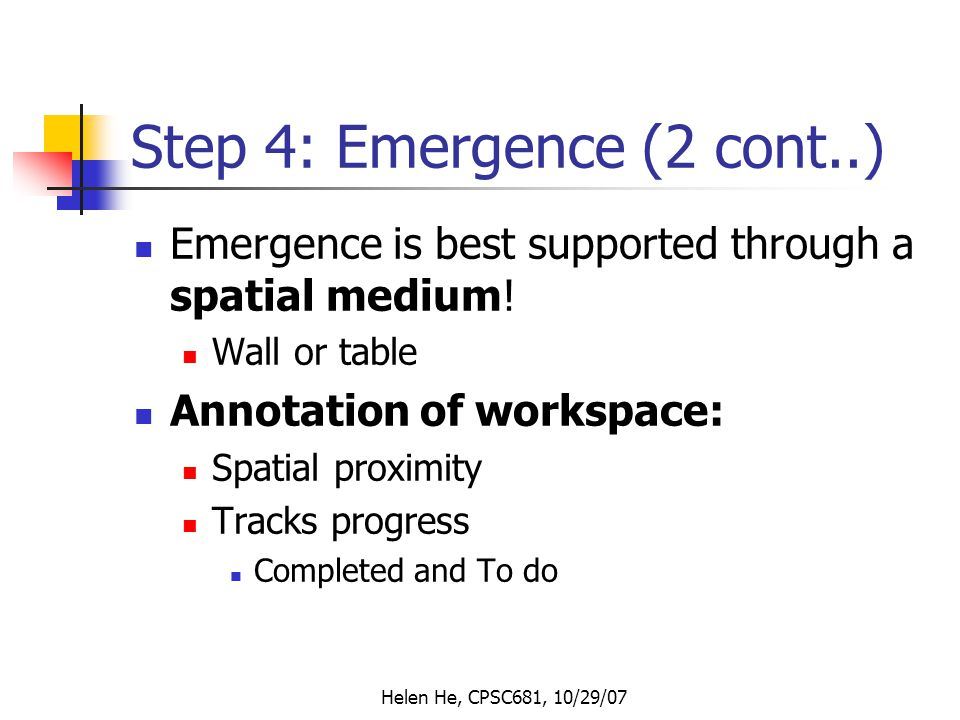 Helen He, CPSC681, 10/29/07 Step 4: Emergence (2 cont..) Emergence is best supported through a spatial medium.