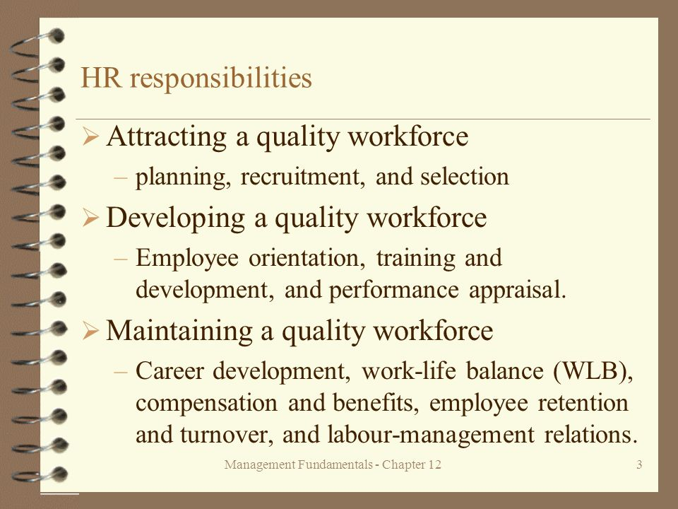 Management Fundamentals - Chapter 123 HR responsibilities  Attracting a quality workforce –planning, recruitment, and selection  Developing a quality workforce –Employee orientation, training and development, and performance appraisal.