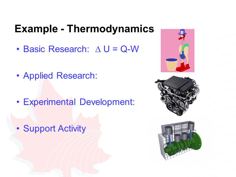 Example - Thermodynamics Basic Research:  U = Q-W Applied Research: Experimental Development: Support Activity