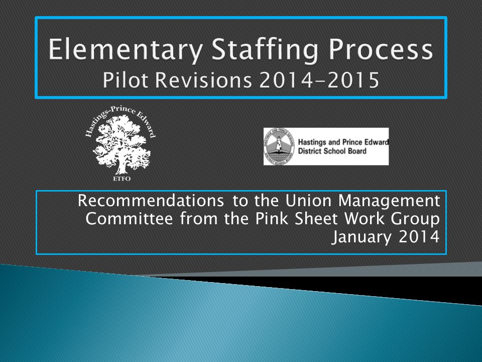 Recommendations to the Union Management Committee from the Pink Sheet Work Group January 2014
