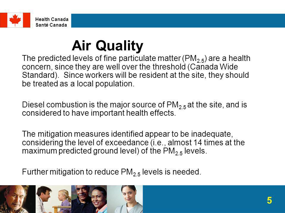 Air Quality The predicted levels of fine particulate matter (PM 2.5 ) are a health concern, since they are well over the threshold (Canada Wide Standard).