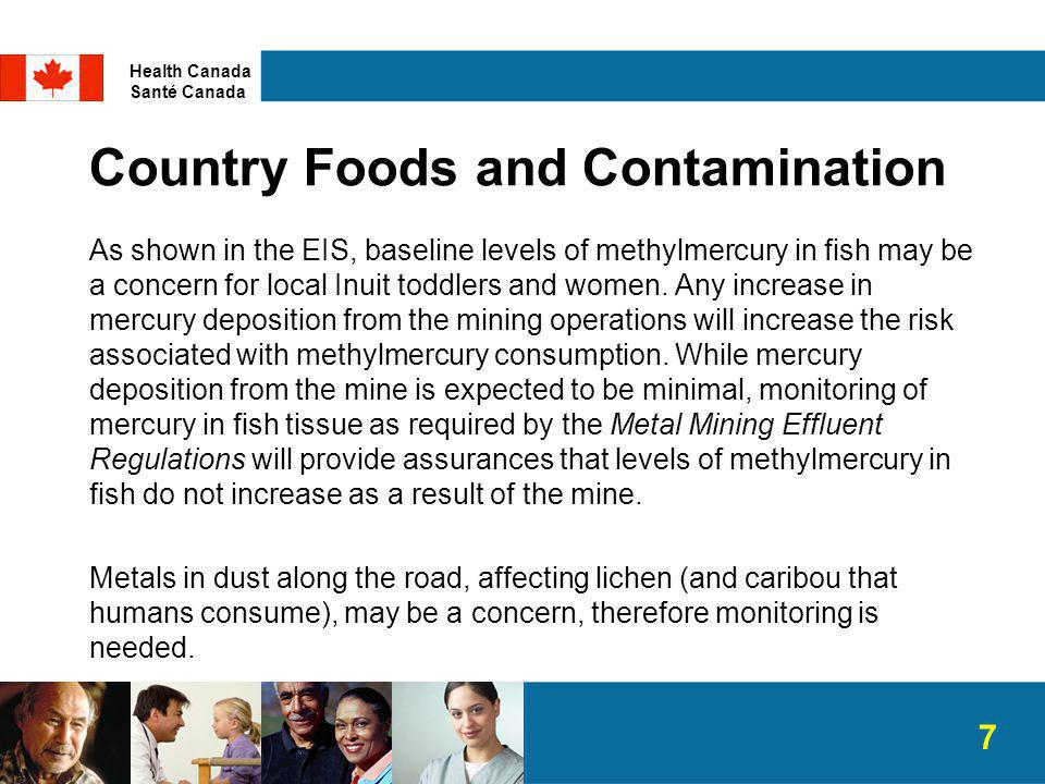 Country Foods and Contamination As shown in the EIS, baseline levels of methylmercury in fish may be a concern for local Inuit toddlers and women.