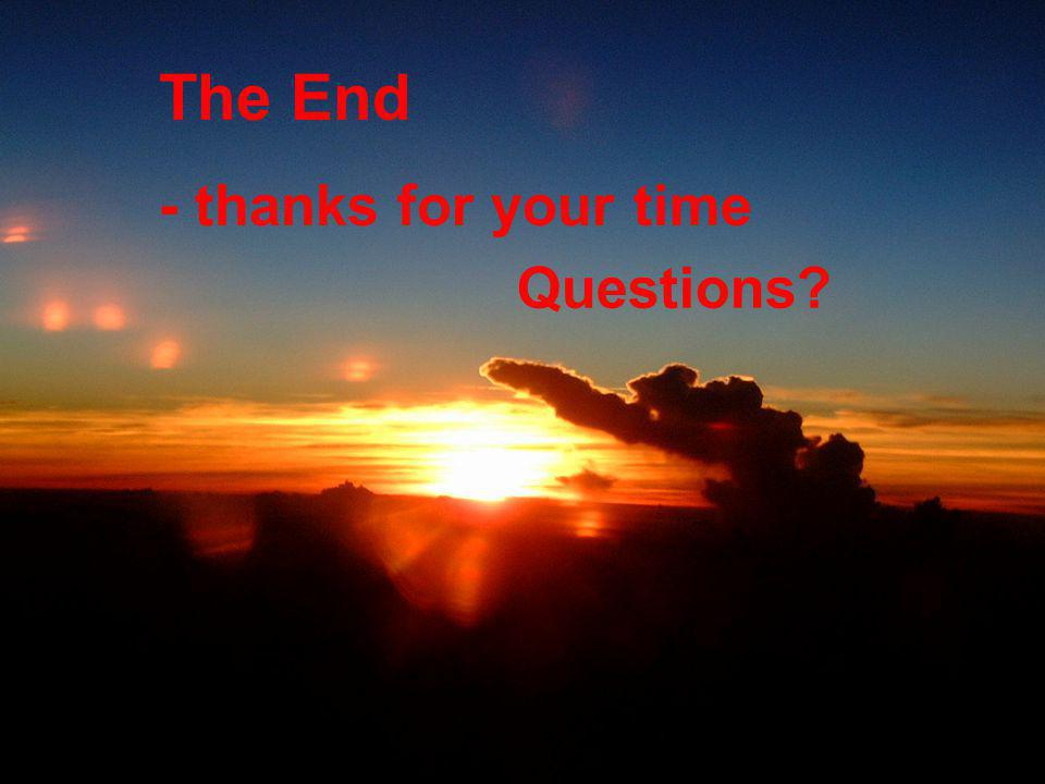 The End - thanks for your time Questions