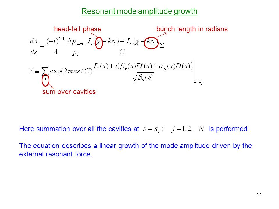 Resonant mode amplitude growth 11 Here summation over all the cavities at is performed.