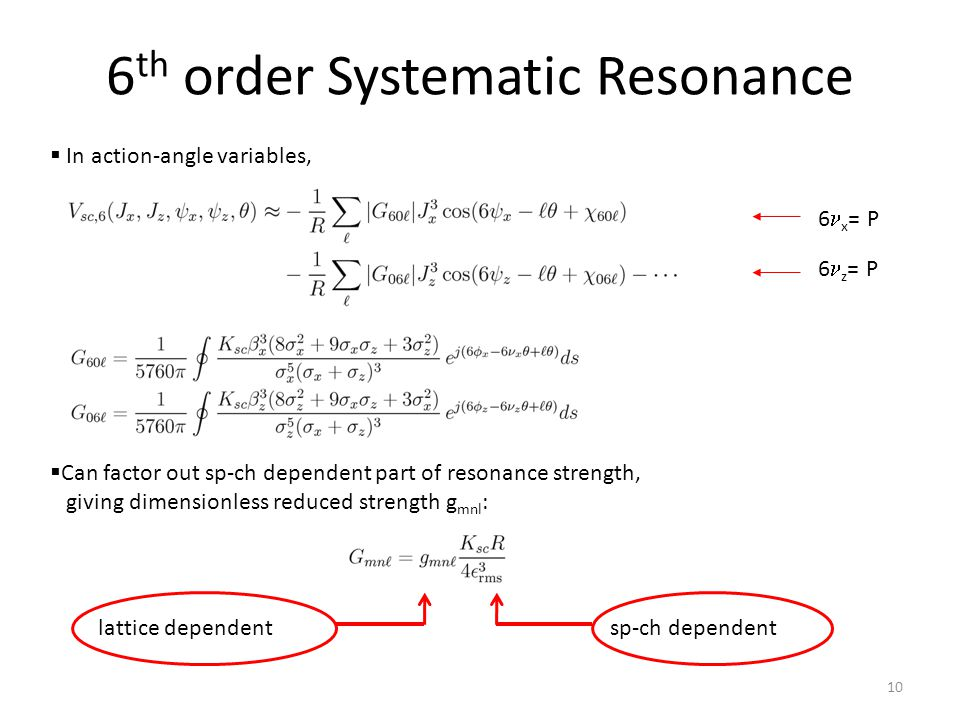  In action-angle variables,  Can factor out sp-ch dependent part of resonance strength, giving dimensionless reduced strength g mnl : sp-ch dependentlattice dependent 6 x = P 6 z = P 6 th order Systematic Resonance 10