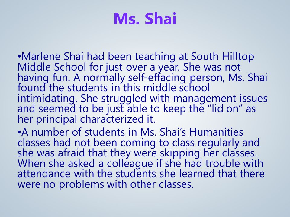Marlene Shai had been teaching at South Hilltop Middle School for just over a year.