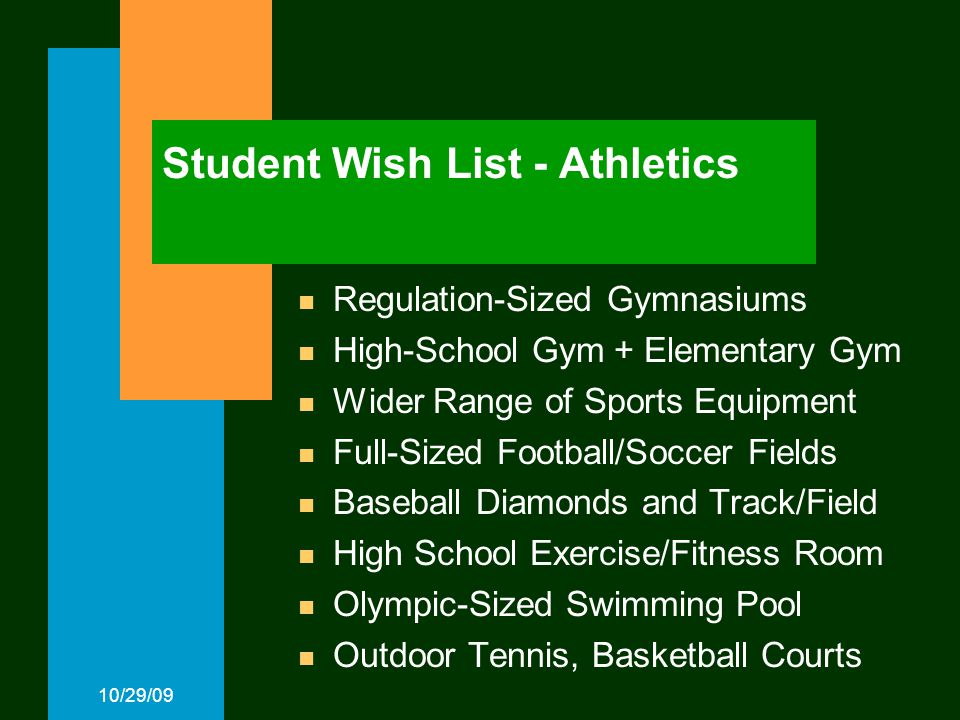 10/29/09 Student Wish List - Athletics Regulation-Sized Gymnasiums High-School Gym + Elementary Gym Wider Range of Sports Equipment Full-Sized Football/Soccer Fields Baseball Diamonds and Track/Field High School Exercise/Fitness Room Olympic-Sized Swimming Pool Outdoor Tennis, Basketball Courts