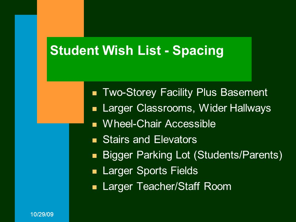 10/29/09 Student Wish List - Spacing Two-Storey Facility Plus Basement Larger Classrooms, Wider Hallways Wheel-Chair Accessible Stairs and Elevators Bigger Parking Lot (Students/Parents) Larger Sports Fields Larger Teacher/Staff Room