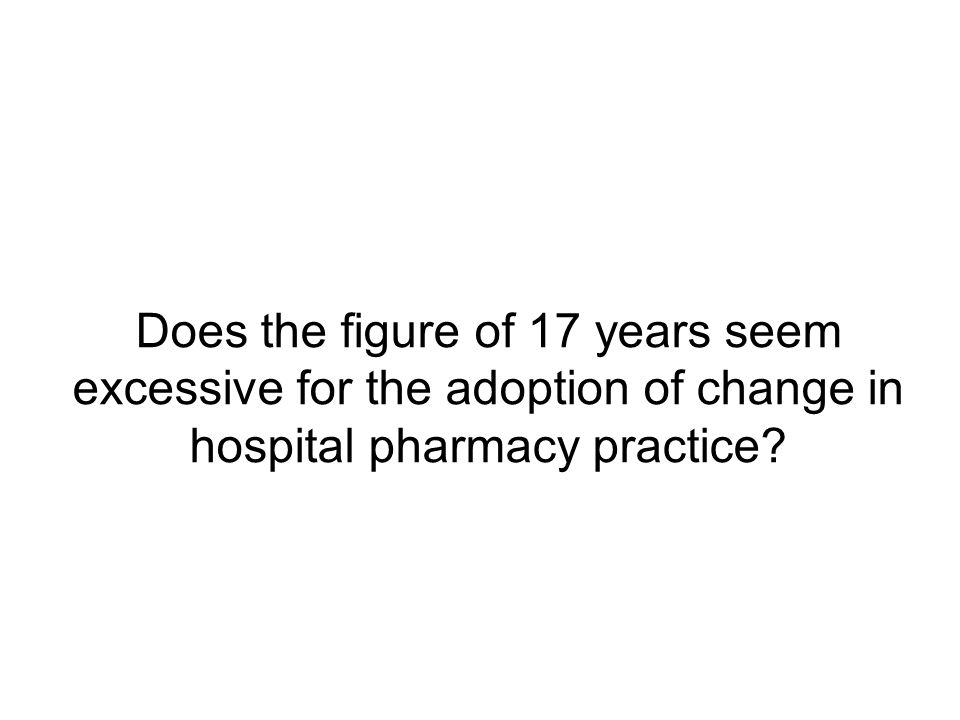 Does the figure of 17 years seem excessive for the adoption of change in hospital pharmacy practice