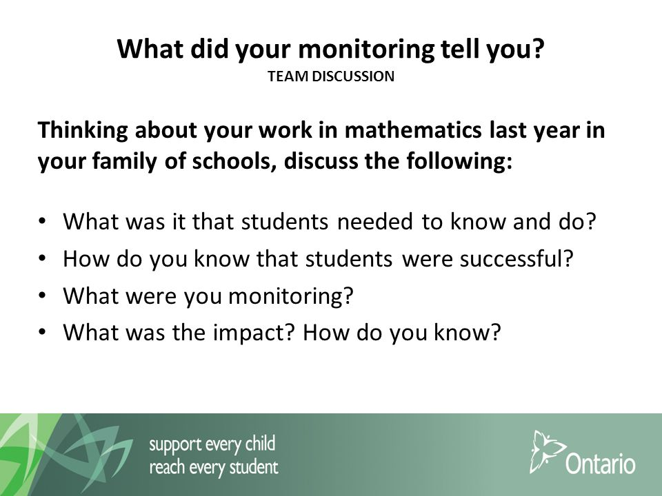 What did your monitoring tell you.