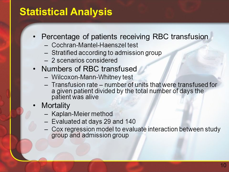 Statistical Analysis Percentage of patients receiving RBC transfusion –Cochran-Mantel-Haenszel test –Stratified according to admission group –2 scenarios considered Numbers of RBC transfused –Wilcoxon-Mann-Whitney test –Transfusion rate – number of units that were transfused for a given patient divided by the total number of days the patient was alive Mortality –Kaplan-Meier method –Evaluated at days 29 and 140 –Cox regression model to evaluate interaction between study group and admission group 10