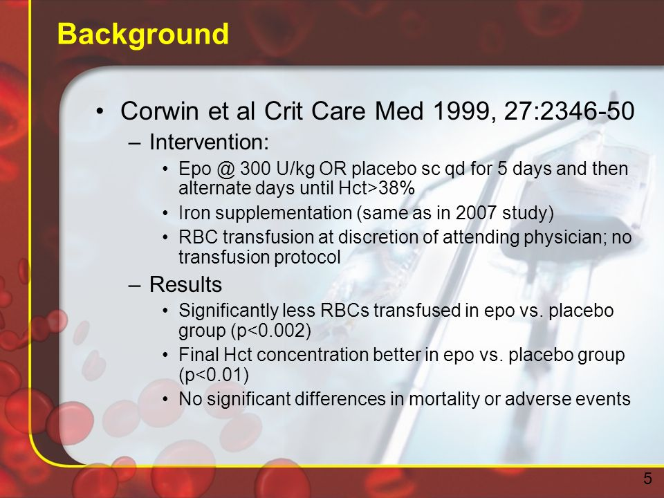 Background Corwin et al Crit Care Med 1999, 27:2346-50 –Intervention: Epo @ 300 U/kg OR placebo sc qd for 5 days and then alternate days until Hct>38% Iron supplementation (same as in 2007 study) RBC transfusion at discretion of attending physician; no transfusion protocol –Results Significantly less RBCs transfused in epo vs.
