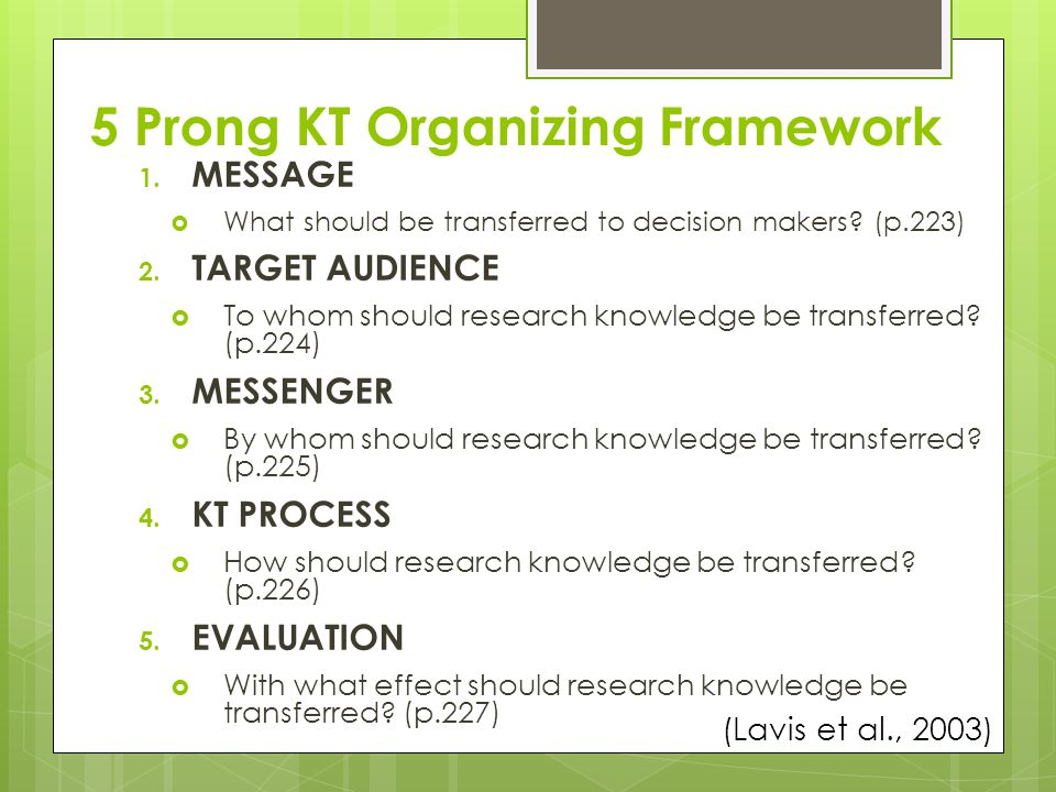 5 Prong KT Organizing Framework 1. MESSAGE  What should be transferred to decision makers.