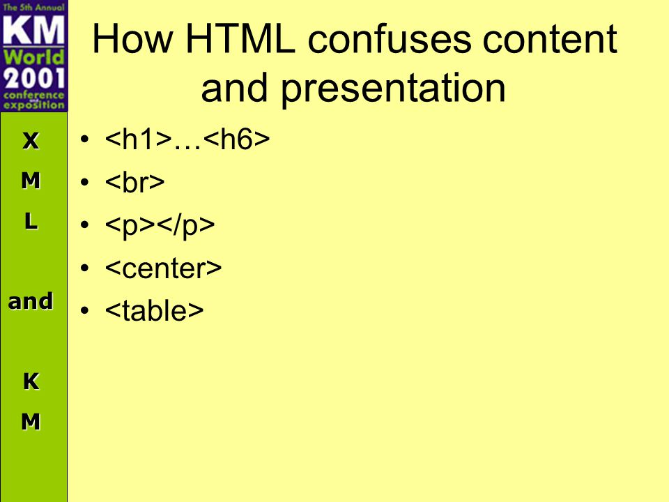 XMLandKM How HTML confuses content and presentation …