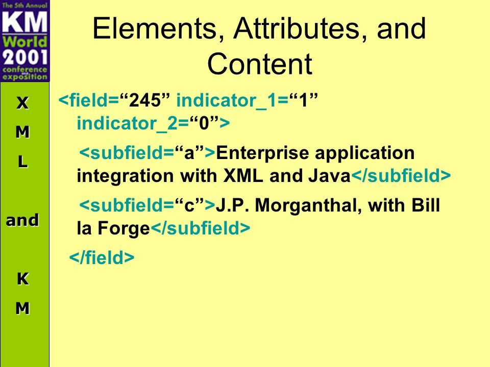 XMLandKM Elements, Attributes, and Content Enterprise application integration with XML and Java J.P.