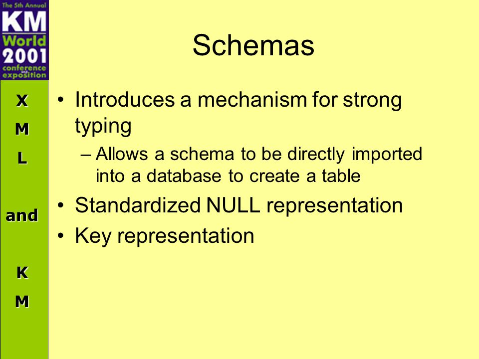 XMLandKM Schemas Introduces a mechanism for strong typing –Allows a schema to be directly imported into a database to create a table Standardized NULL representation Key representation