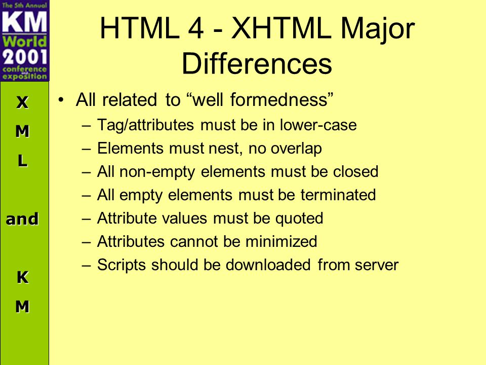 XMLandKM HTML 4 - XHTML Major Differences All related to well formedness –Tag/attributes must be in lower-case –Elements must nest, no overlap –All non-empty elements must be closed –All empty elements must be terminated –Attribute values must be quoted –Attributes cannot be minimized –Scripts should be downloaded from server