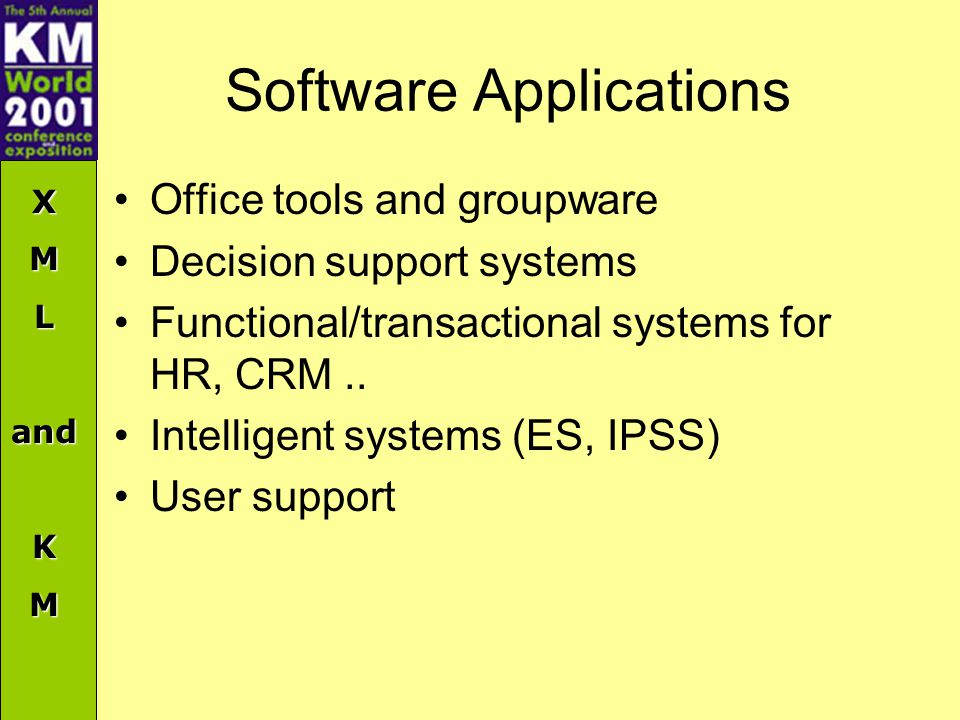XMLandKM Software Applications Office tools and groupware Decision support systems Functional/transactional systems for HR, CRM..