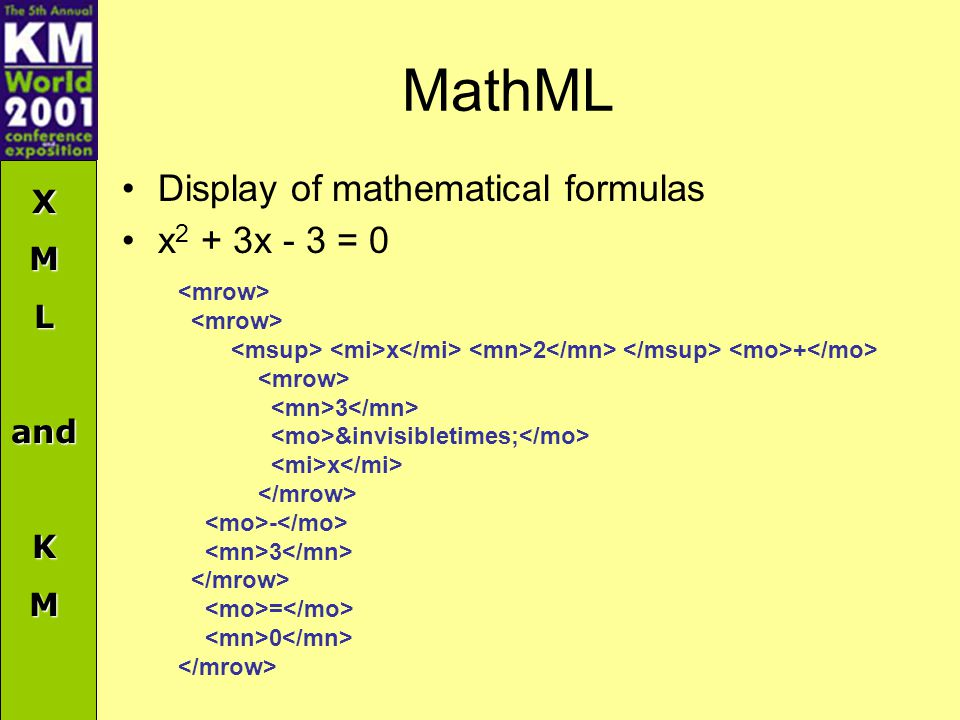 XMLandKM MathML Display of mathematical formulas x 2 + 3x - 3 = 0 x 2 + 3 &invisibletimes; x - 3 = 0