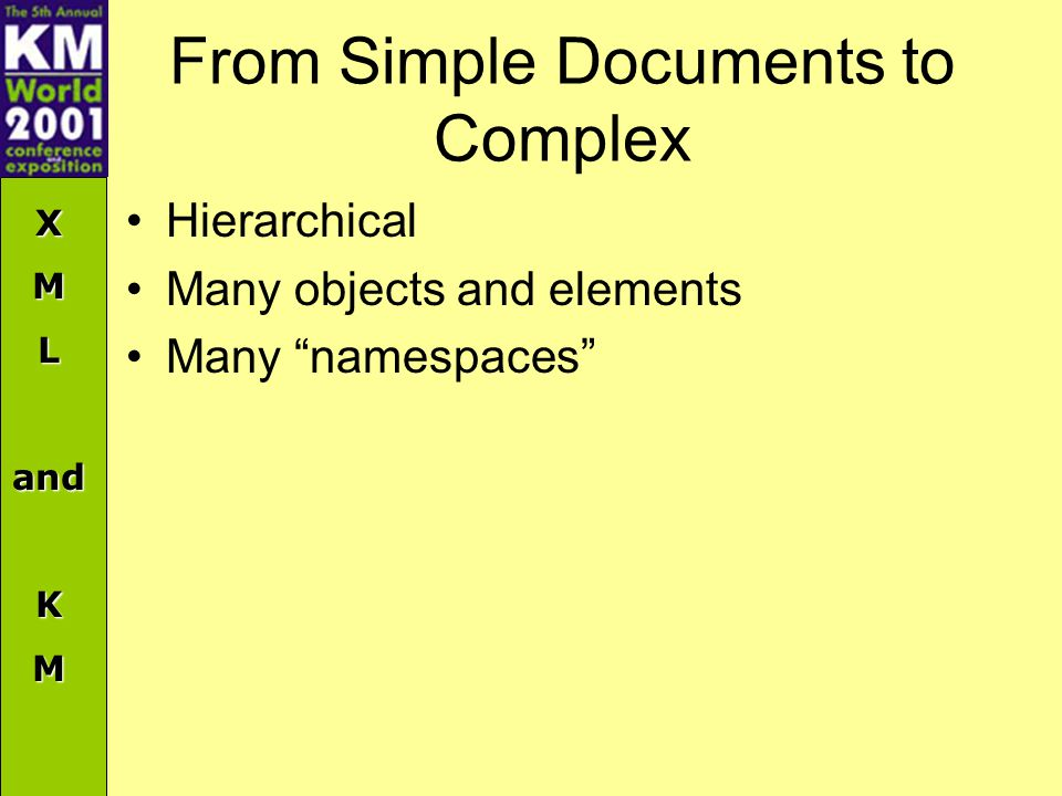 XMLandKM From Simple Documents to Complex Hierarchical Many objects and elements Many namespaces
