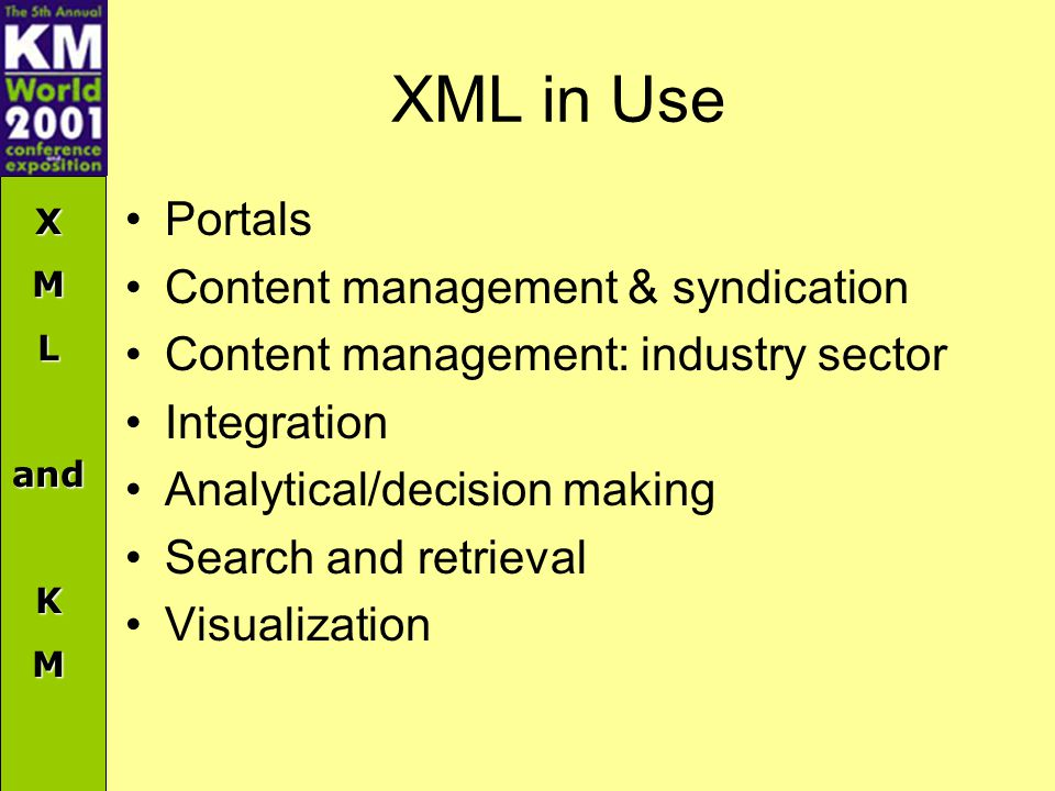 XMLandKM XML in Use Portals Content management & syndication Content management: industry sector Integration Analytical/decision making Search and retrieval Visualization