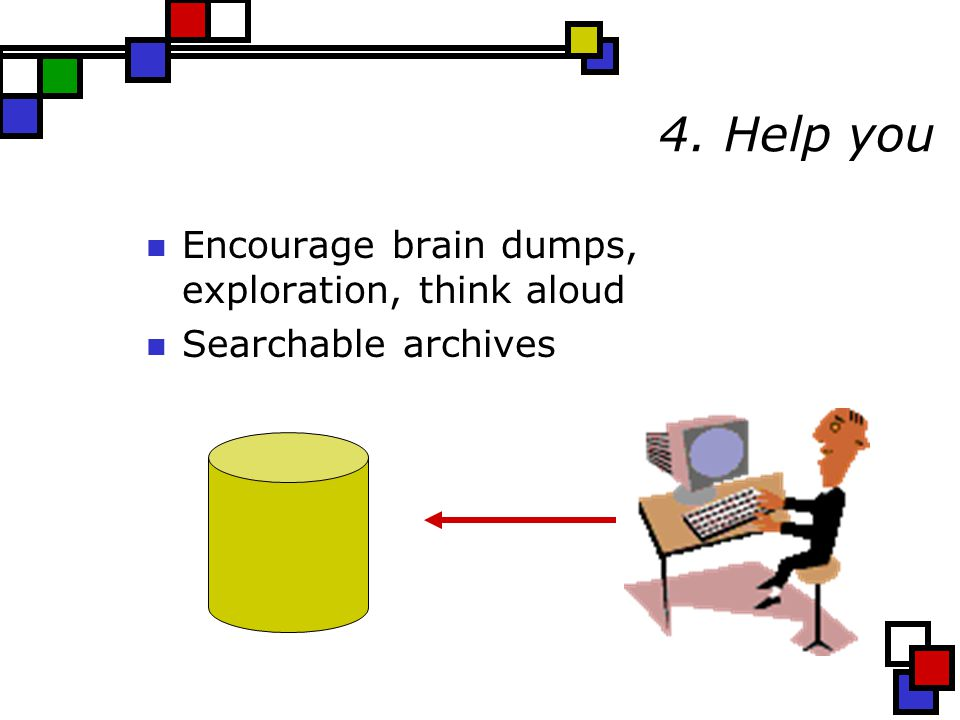 4. Help you Encourage brain dumps, exploration, think aloud Searchable archives