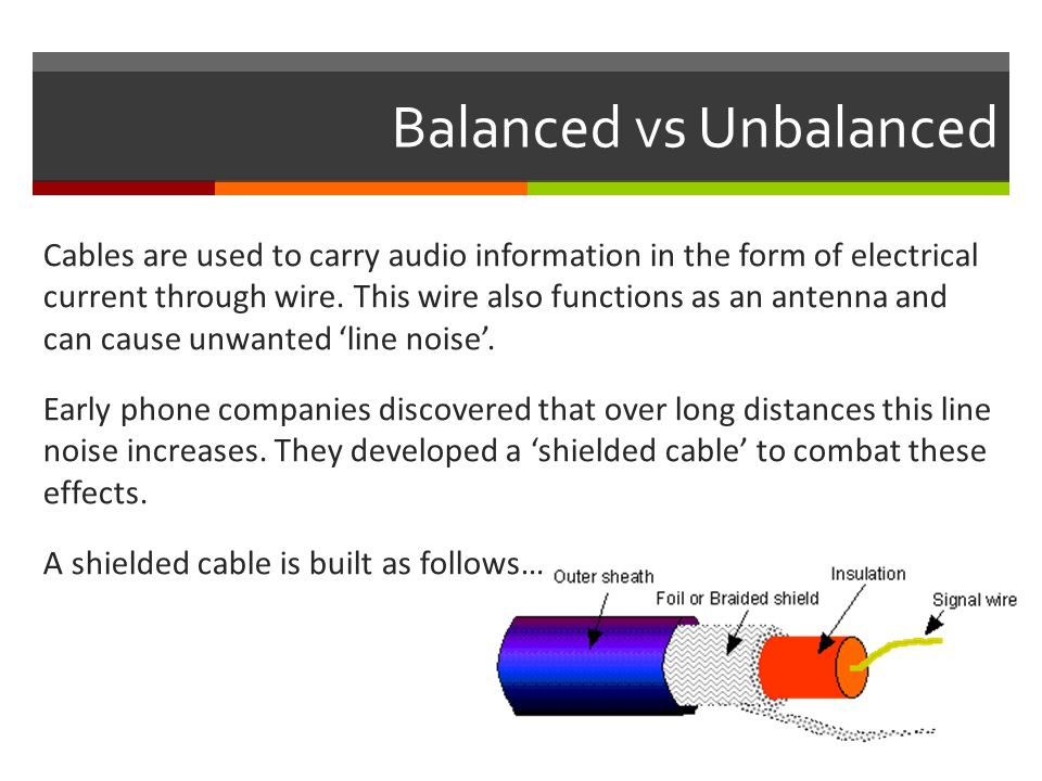 Balanced vs Unbalanced Cables are used to carry audio information in the form of electrical current through wire.