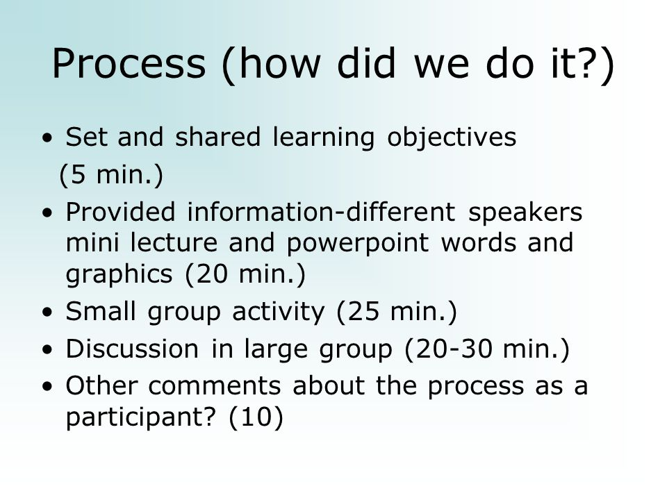 Process (how did we do it ) Set and shared learning objectives (5 min.) Provided information-different speakers mini lecture and powerpoint words and graphics (20 min.) Small group activity (25 min.) Discussion in large group (20-30 min.) Other comments about the process as a participant.