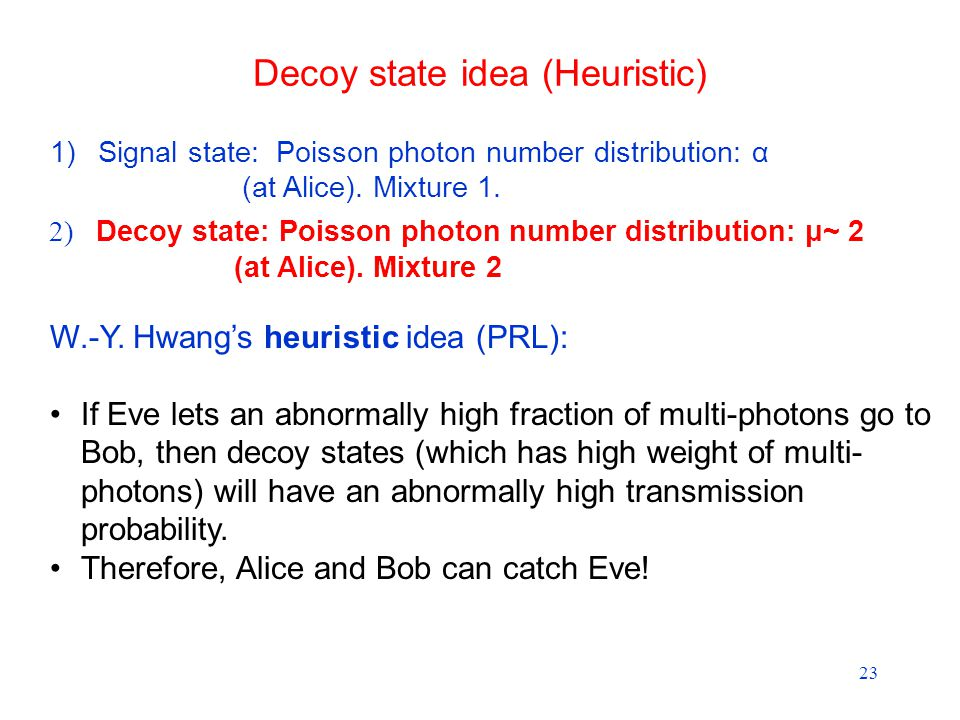 23 1)Signal state: Poisson photon number distribution: α (at Alice).