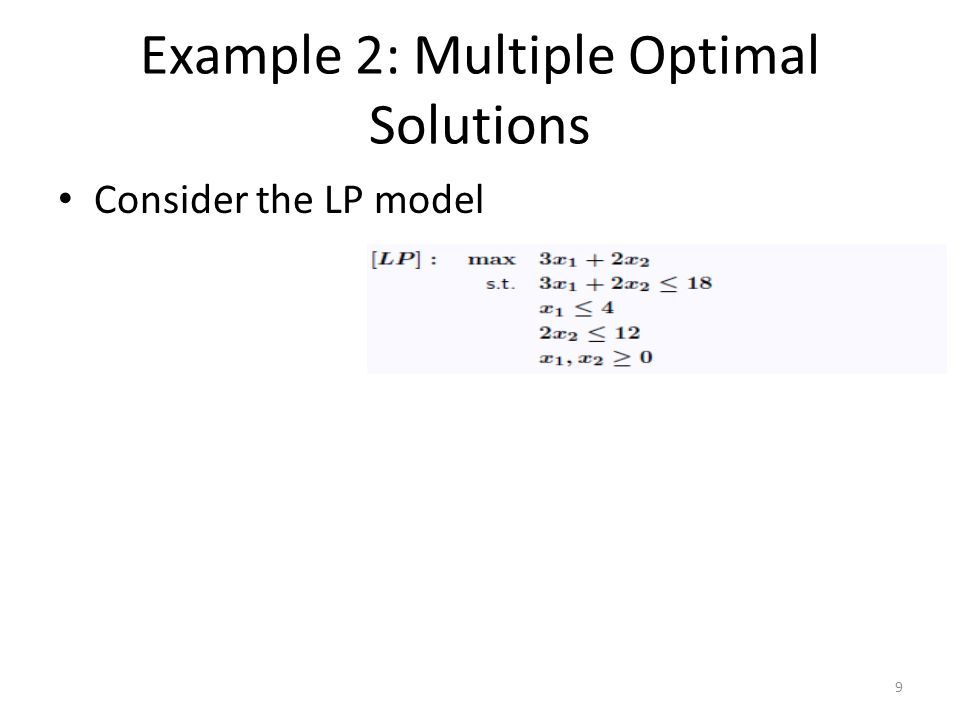Example 2: Multiple Optimal Solutions Consider the LP model 9