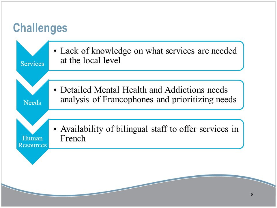 8 Challenges Services Lack of knowledge on what services are needed at the local level Needs Detailed Mental Health and Addictions needs analysis of Francophones and prioritizing needs Human Resources Availability of bilingual staff to offer services in French