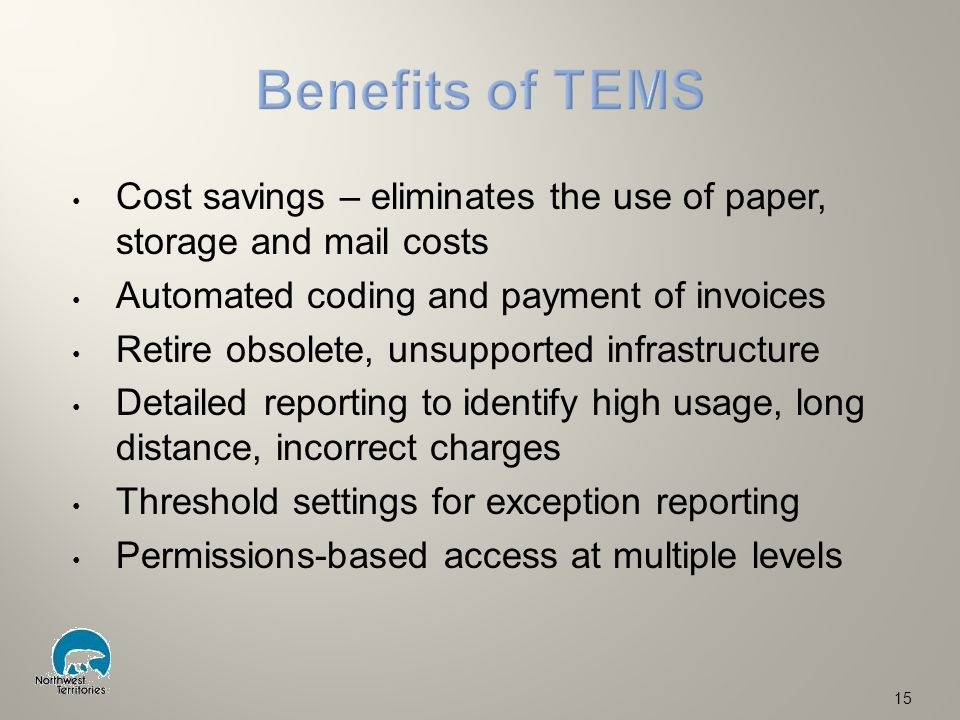 Cost savings – eliminates the use of paper, storage and mail costs Automated coding and payment of invoices Retire obsolete, unsupported infrastructure Detailed reporting to identify high usage, long distance, incorrect charges Threshold settings for exception reporting Permissions-based access at multiple levels 15