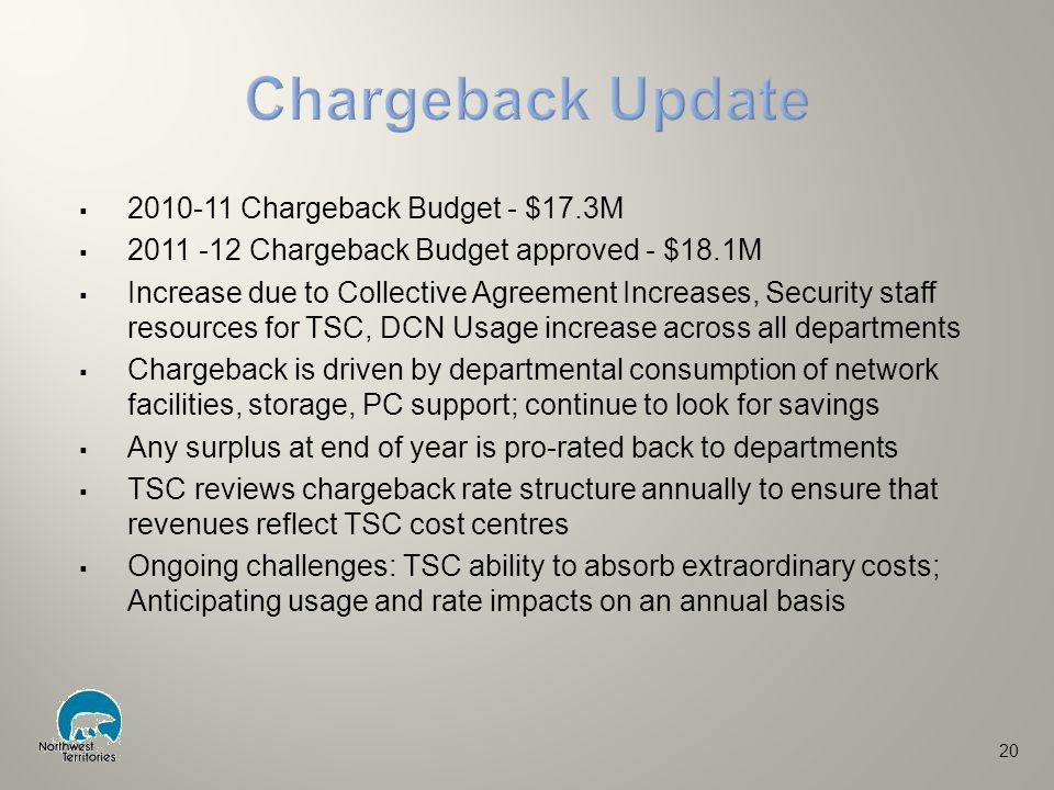  2010-11 Chargeback Budget - $17.3M  2011 -12 Chargeback Budget approved - $18.1M  Increase due to Collective Agreement Increases, Security staff resources for TSC, DCN Usage increase across all departments  Chargeback is driven by departmental consumption of network facilities, storage, PC support; continue to look for savings  Any surplus at end of year is pro-rated back to departments  TSC reviews chargeback rate structure annually to ensure that revenues reflect TSC cost centres  Ongoing challenges: TSC ability to absorb extraordinary costs; Anticipating usage and rate impacts on an annual basis 20