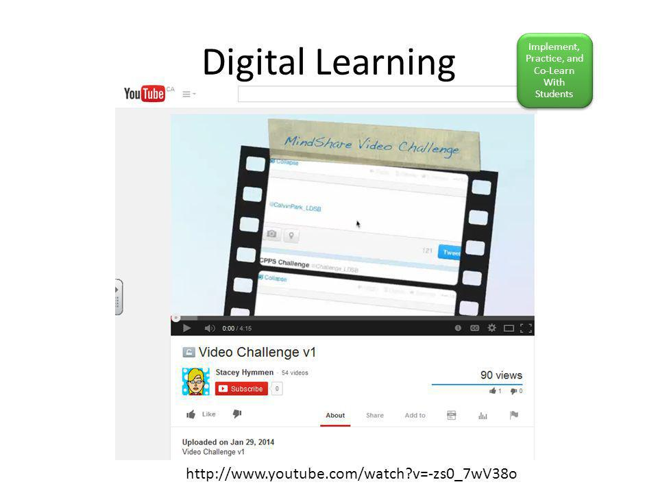 Digital Learning http://www.youtube.com/watch v=-zs0_7wV38o Implement, Practice, and Co-Learn With Students