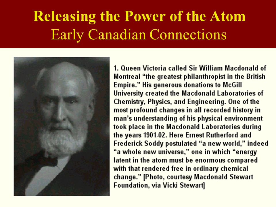 Releasing the Power of the Atom Early Canadian Connections