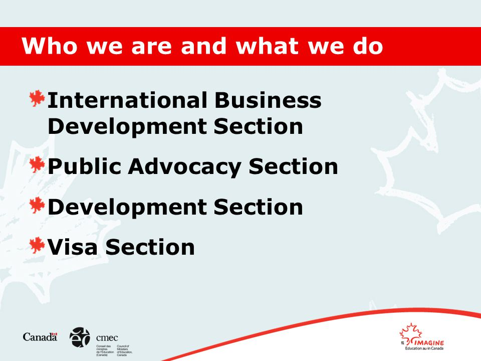 Who we are and what we do International Business Development Section Public Advocacy Section Development Section Visa Section